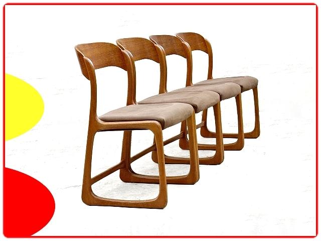4 chaises Baumann Traineaux bois et tissu