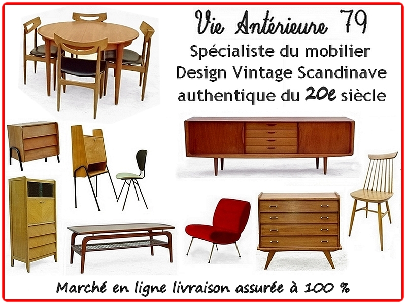 Commode vintage scandinave, table chaise, enfilade, fauteuils scandinaves, fauteuil, meubles scandinaves danois