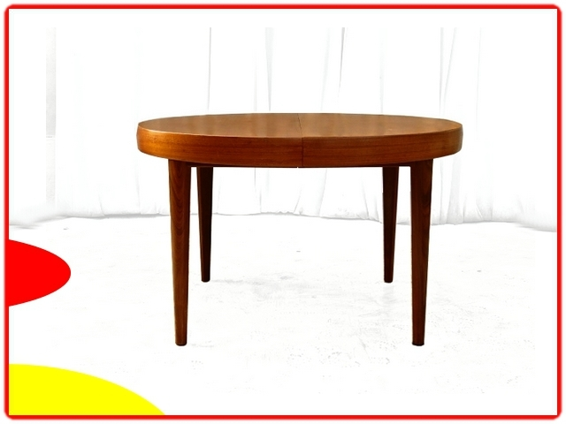 table ronde scandinave en teck extensible