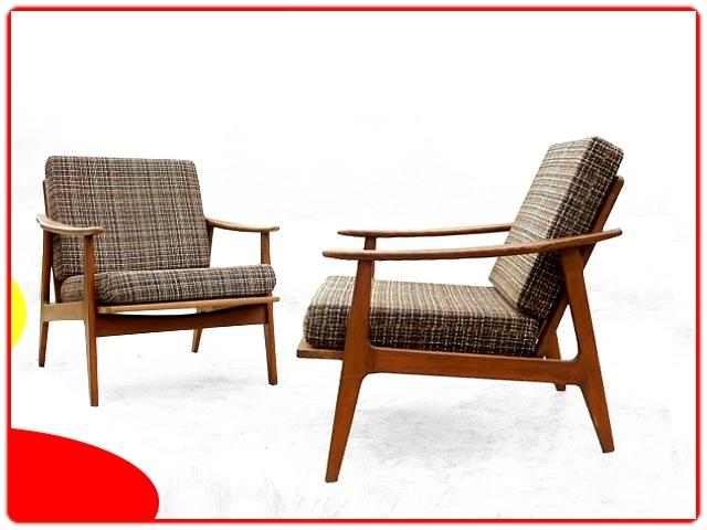 2 fauteuils vintage scandinave boomerang