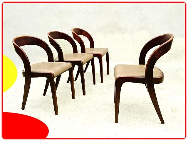 chaises gondoles en acajour et skaï
