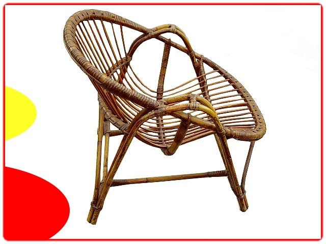 fauteuil en rotin pour adulte vintage 1960