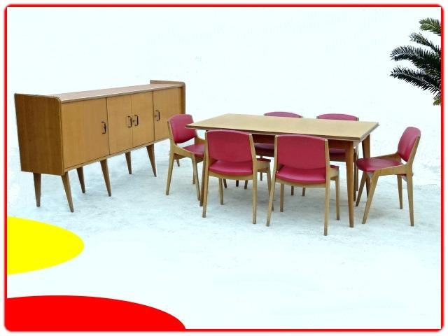 salle à manger vintage SAM Demi siècle bois massif 1950