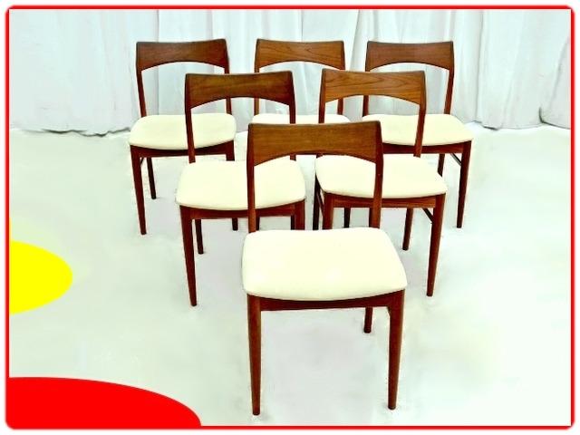 6 chaises danoises Henning Kjaernult en teck et tissu