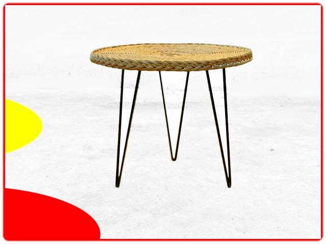 Table ronde en rotin et métal vintage