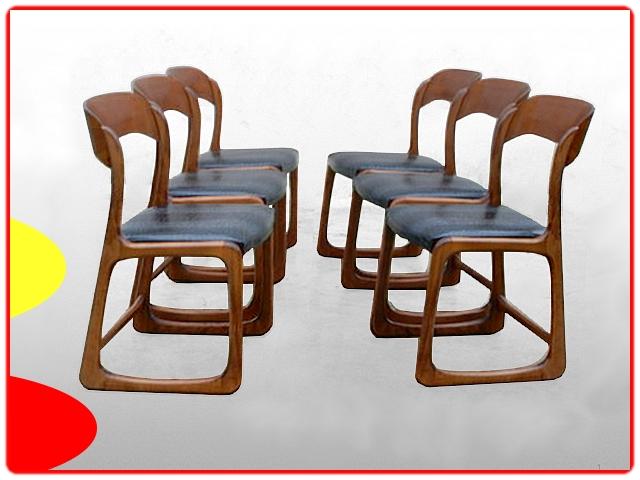 Chaises Baumann Traineaux vintage 1960