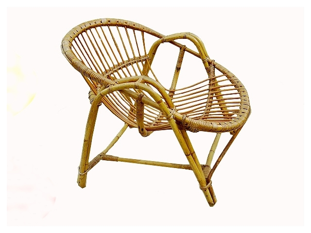 fauteuil coquille rotin clair adulte