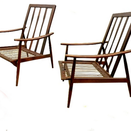 Paire fauteuils scandinaves vintage 1960 boomerang