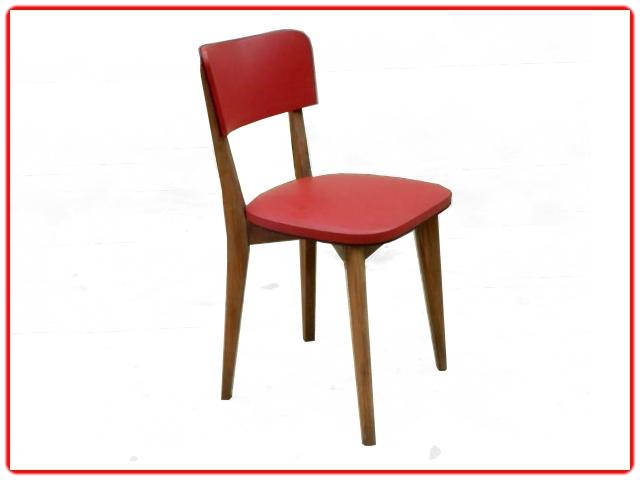 chaises vintage skaï rouge