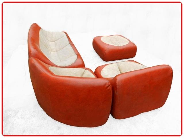 Canapé fauteuils pouf vintage 1970