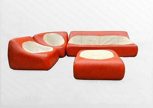 Canapé d'angle modulable vintage
