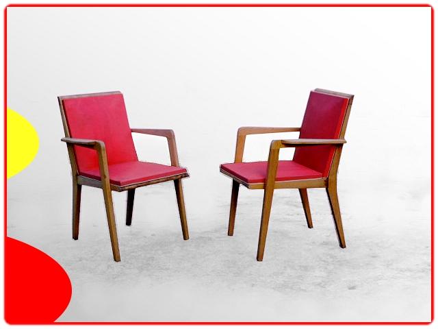 2 fauteuils bridge bois et skaï 1960