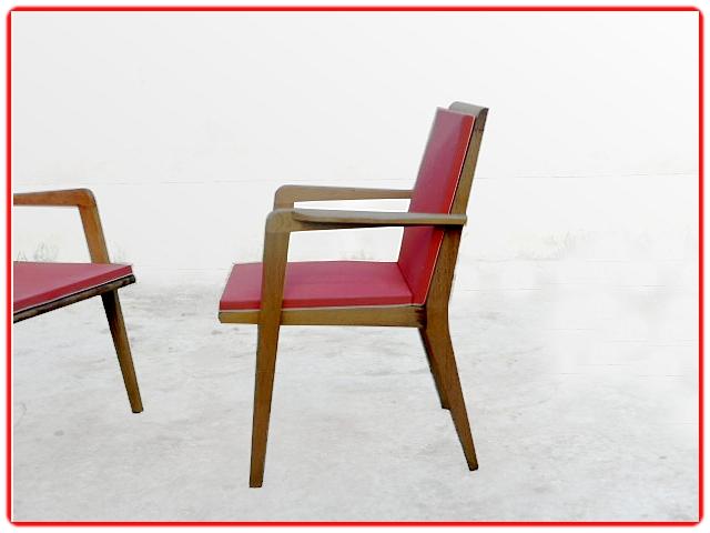 2 fauteuils de bridge bois clair