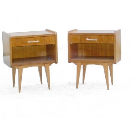 Paire de chevets bois clair vintage 1960