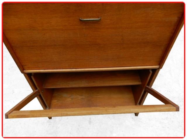 Secrétaire bureau vintage chêne doré