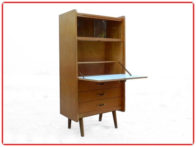 Secrétaire bureau vintage bois massif