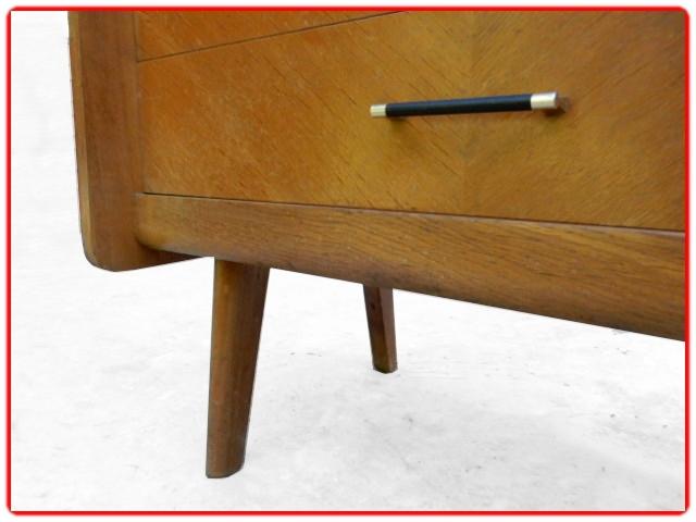 Secrétaire vintage bois clair pieds inclinés