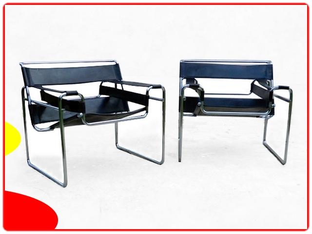 Paire de fauteuils Wassily B3 Marcel Breuer 1960