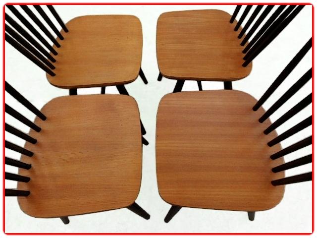 4 chaises Thonet Ton vintage 1960