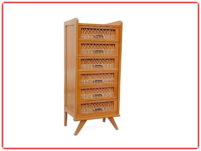 Chiffonnier Commode rotin bois vintage 1950