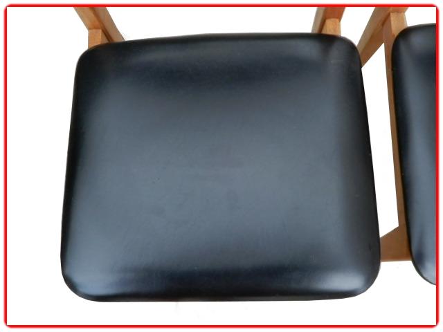 Chaise en skai et teck scandinave vintage