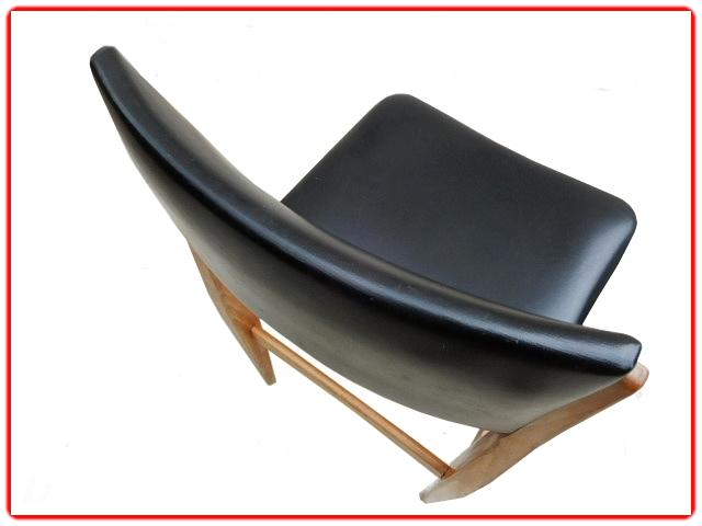 Chaises teck scandinaves skai noir vintage 1960