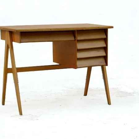 Bureau vintage bois clair massif