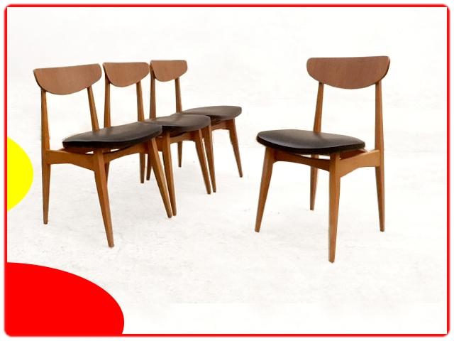 Chaises scandinave vintage teck rénovées