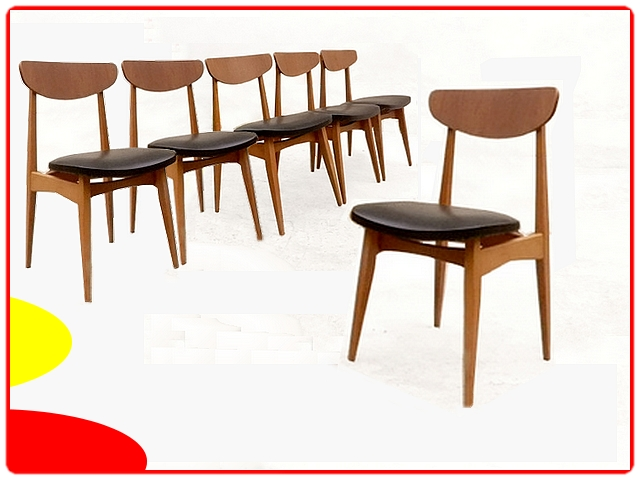 Chaises scandinaves vintage teck rénovées