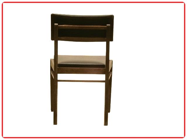 Chaises vintage bois et skaî noir