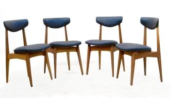 Chaises scandinave vintage bois clair skai noir