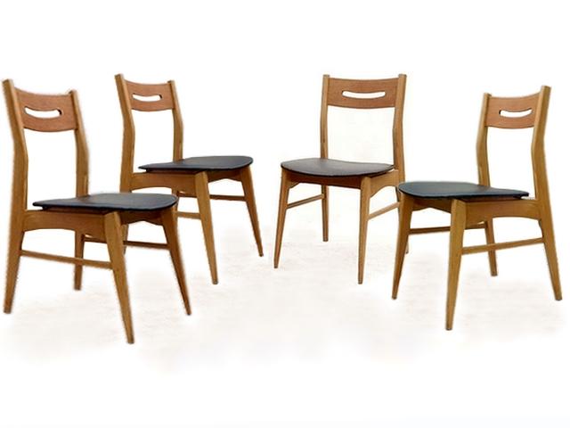 Chaises design scandinave rénovées vintage teck