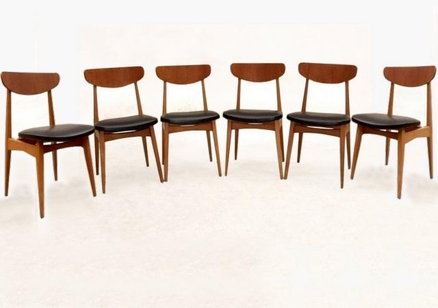 6 chaises scandinaves vintage rénovées en teck