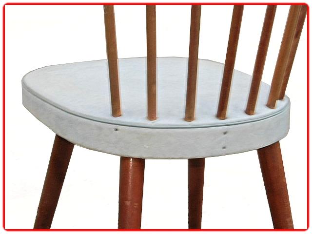 Chaises vintage skaï blanc gris